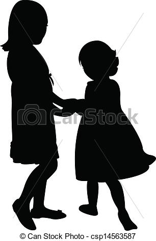 Vector   Happy Sisters Playing   Stock Illustration Royalty Free