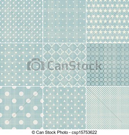 Vector   Set Of Faded Blue Retro Polka Dot Seamless Patterns   Stock