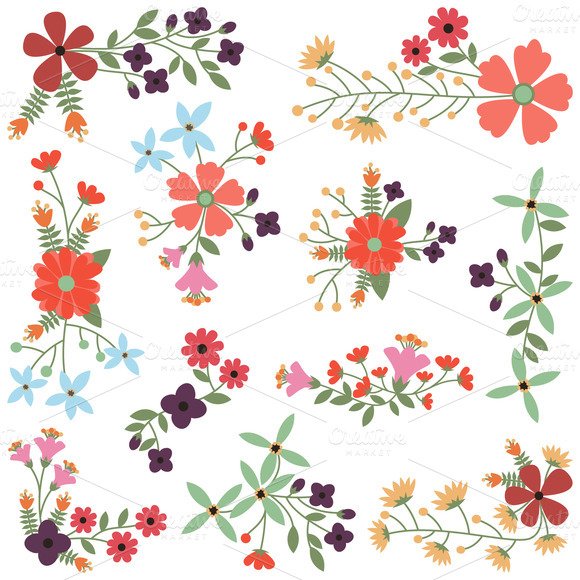 Vintage Flowers Vectors And Clipart   Illustrations On Creative Market