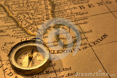 Ancient Compass And Map Of Southern India And Sri Lanka  Map Is From