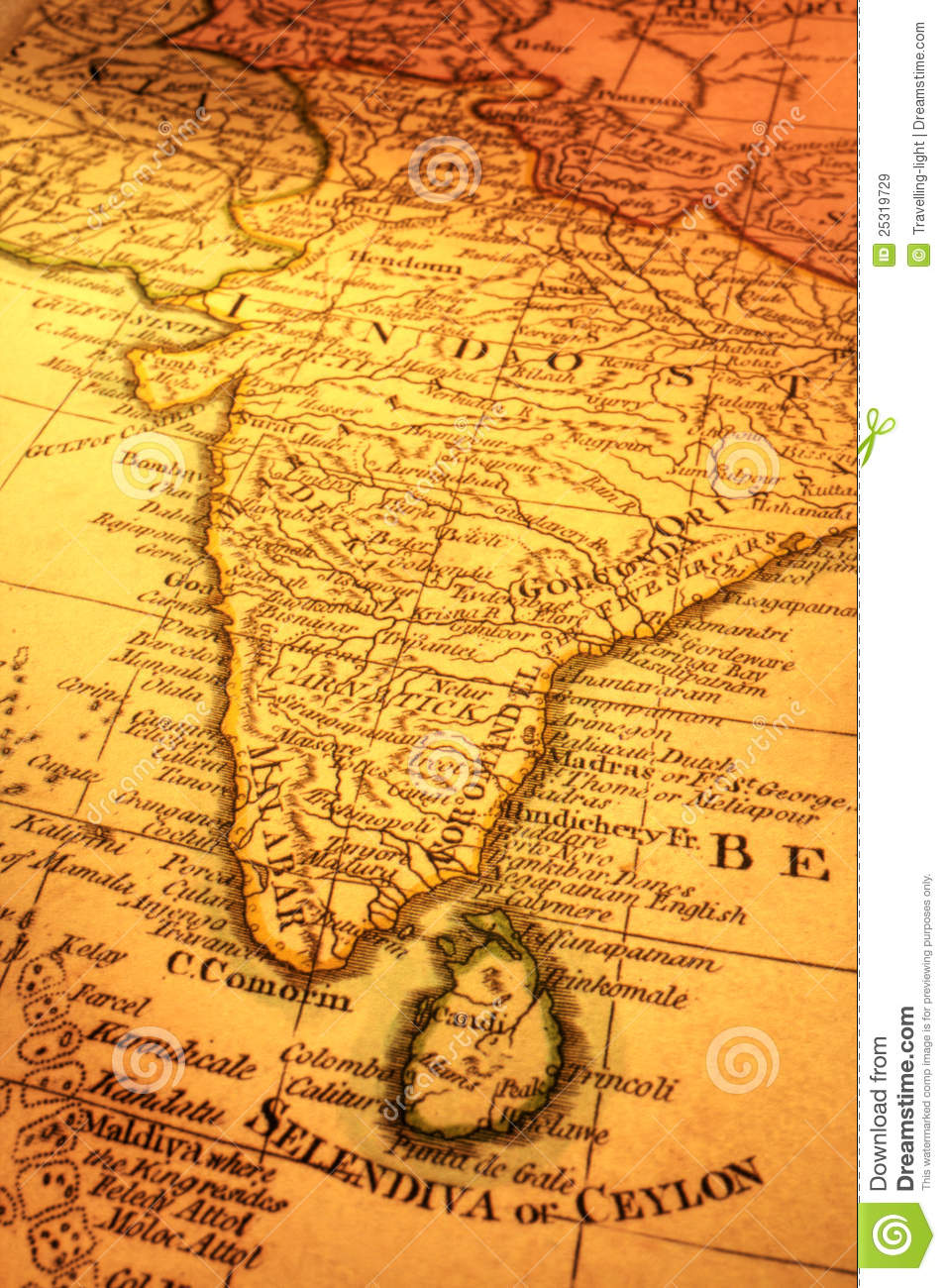 Ancient Map Of India And Sri Lanka  Focus Is On Madras  Map Is From