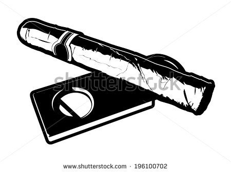 Black And White Vector Illustration Of A Cigar Laying On Top Of A