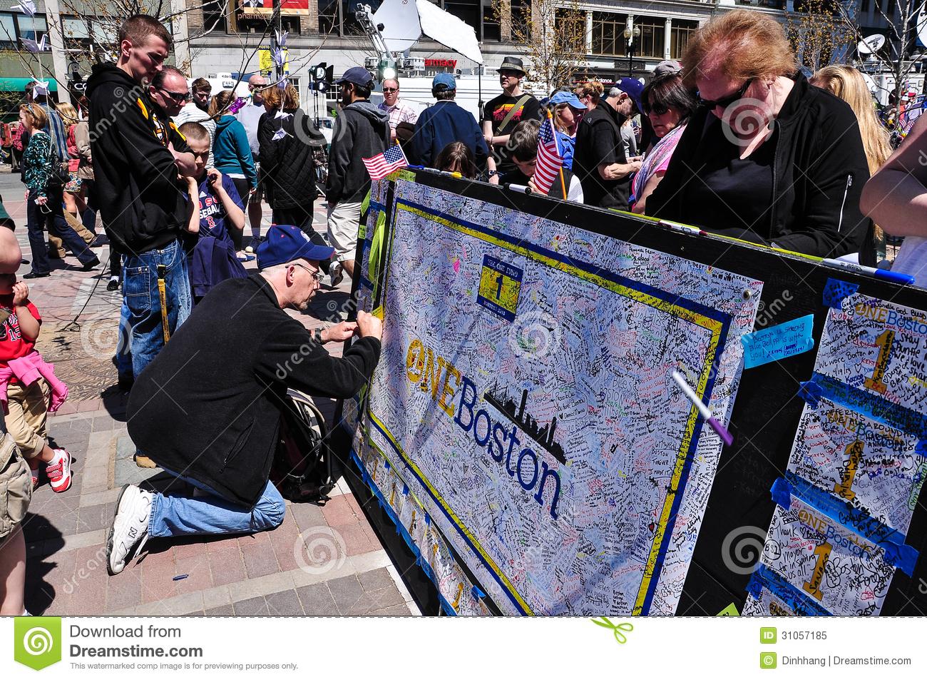 Boston Marathon Bombing Memorial Usa Editorial Image   Image