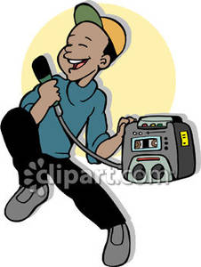 Boy Singing Into A Karaoke Machine Royalty Free Clipart Picture