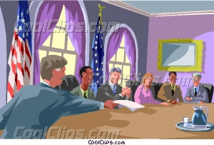 Cabinet Members Around A Table Vector Clip Art