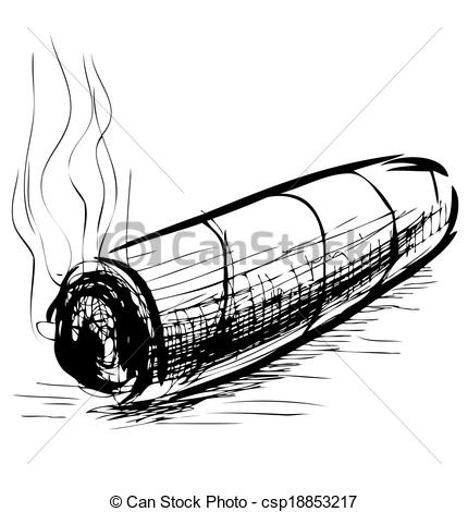 Cigar Clipart Black And White Lighting Cigar Sketch Vector