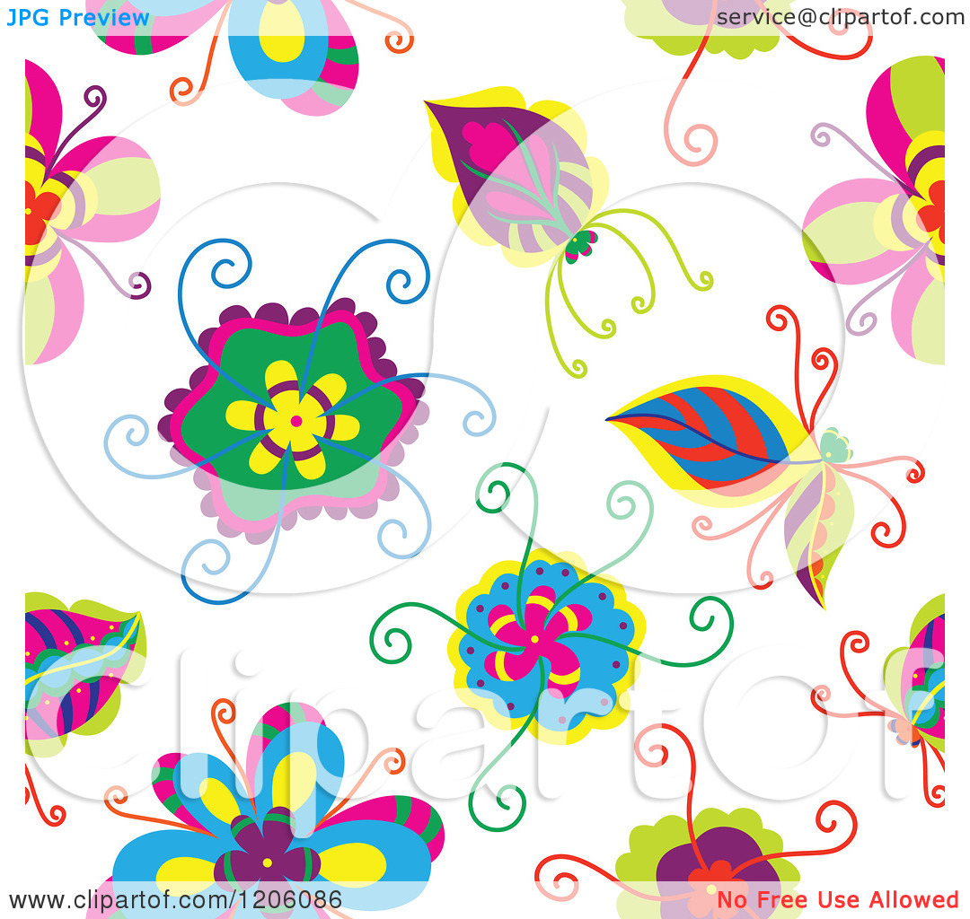 Clipart Of A Seamless Colorful Flower Pattern   Royalty Free Vector