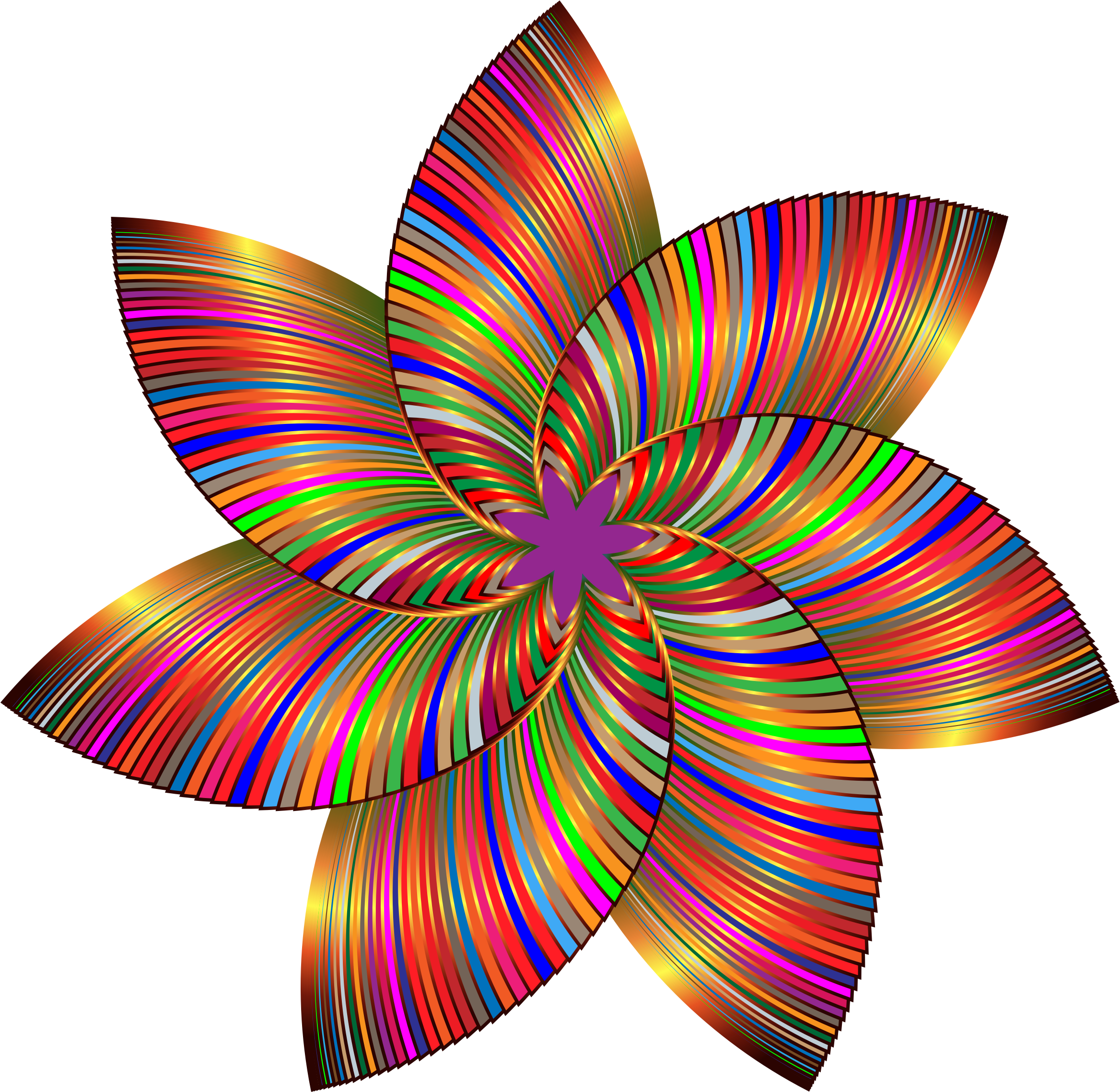 Colorful Flower Line Art 3 By Gdj