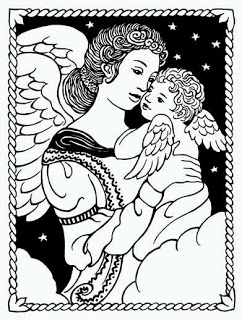 Curio Cat Art And Crafty Fun  Free Clip Art Angels Black And White
