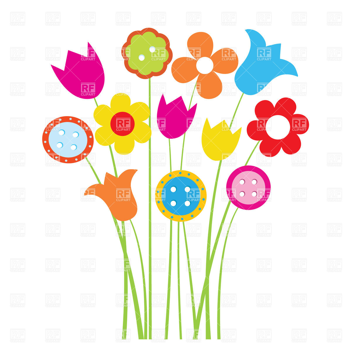 Cute Colorful Cartoon Flowers Download Royalty Free Vector Clipart