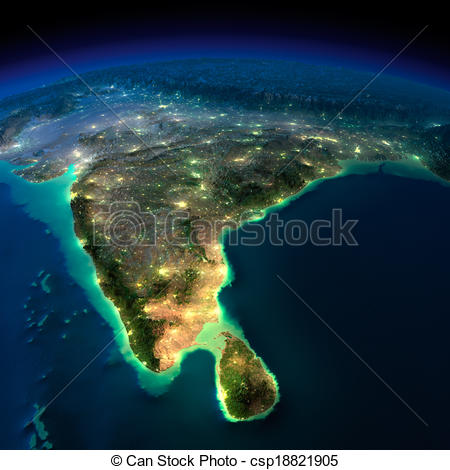 Earth  India And Sri Lanka  Elements Of This Image Furnished By Nasa