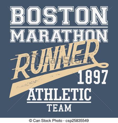 Eps Vector Of Boston Marathon Runner T Shirt   Boston Marathon Runner