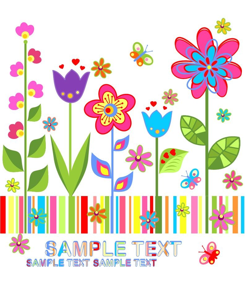 Flower Colorful Vector Background   Free Vector Graphics   All Free