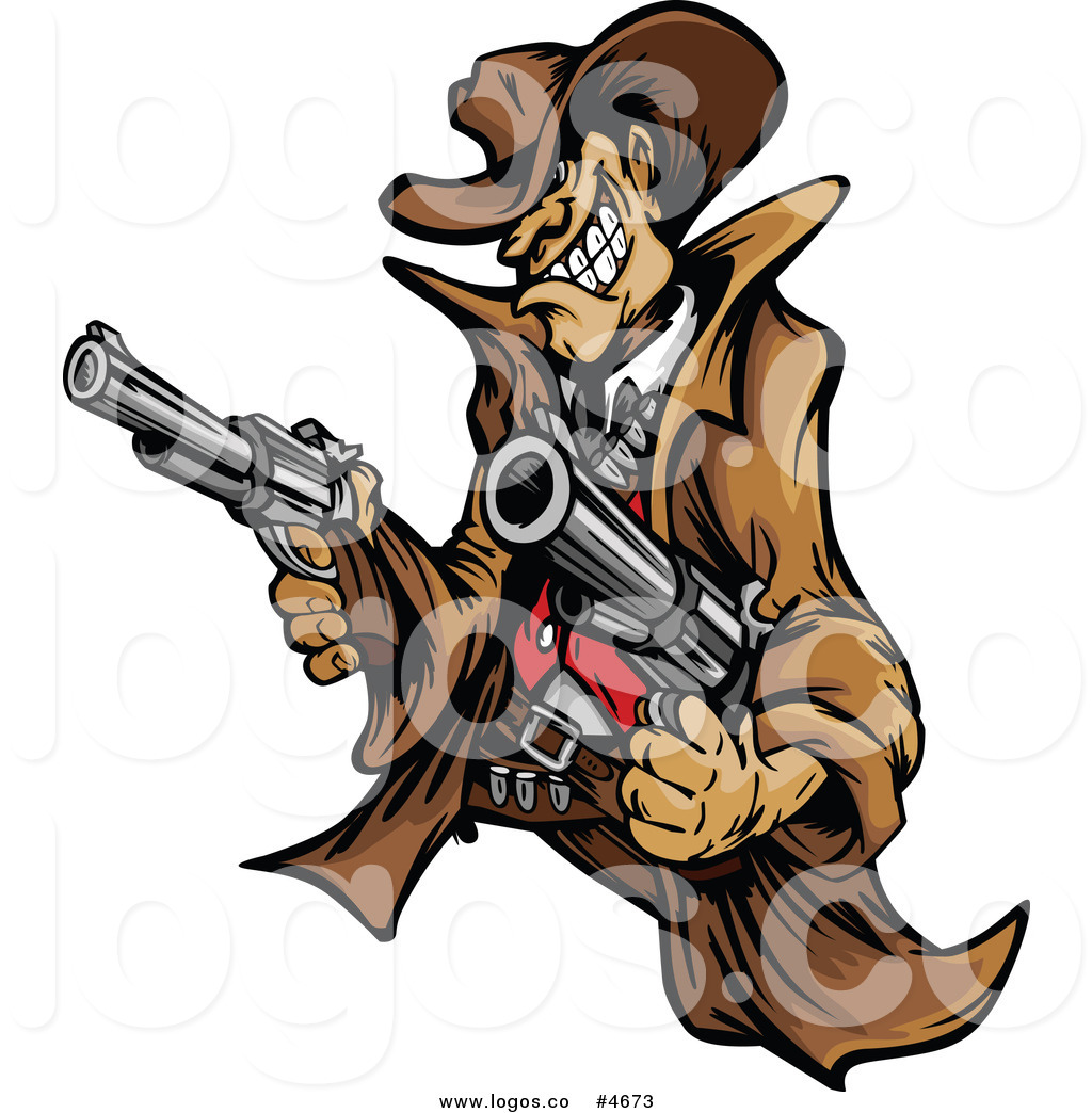 Free Clip Art Vector Logo Of A Wild West Cowboy Shooting Two Pistols