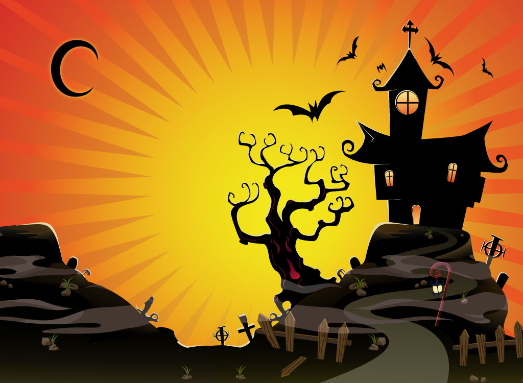 Halloween scene clipart clipart suggest - Cartoon haunted house pics ...