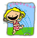 In Water Sprinkler Clip Art Image Kids Wearing Swimsuits And Playing