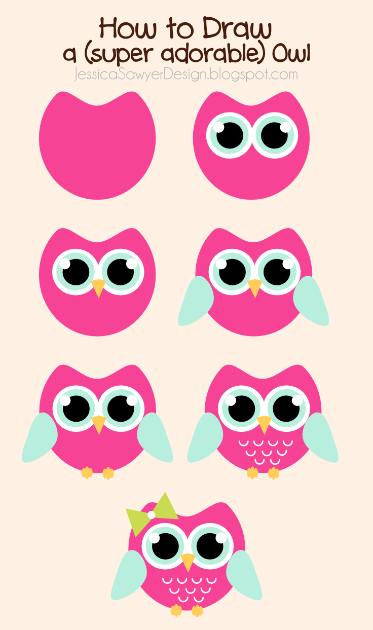 Jessica Sawyer Design  How To Draw An Owl   Free Owl Clipart