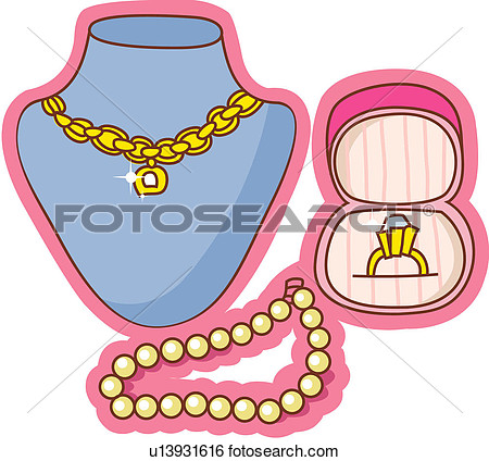Jewelry Store Clipart Diamond Necklace Gold Pearl