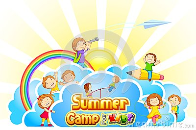 Kids Summer Camp Clipart Vector Illustration Kid Playing Summer Camp