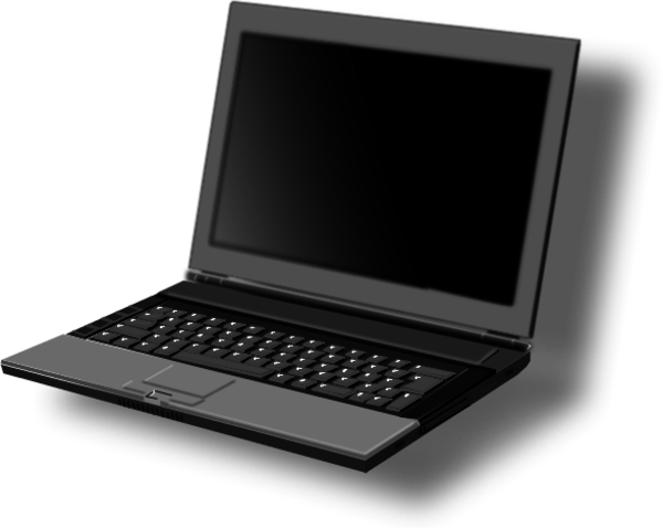 Laptop With Shadow   Vector Clip Art