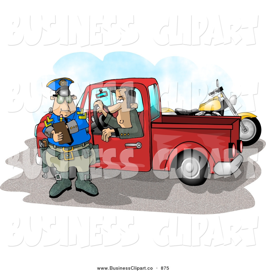 Male In A Truck Watching A Cop Writing A Speeding Ticket By Dennis Cox