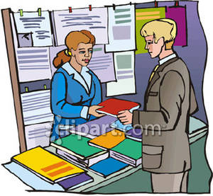 Man In A Bookstore Buying A Magazine Royalty Free Clipart Picture
