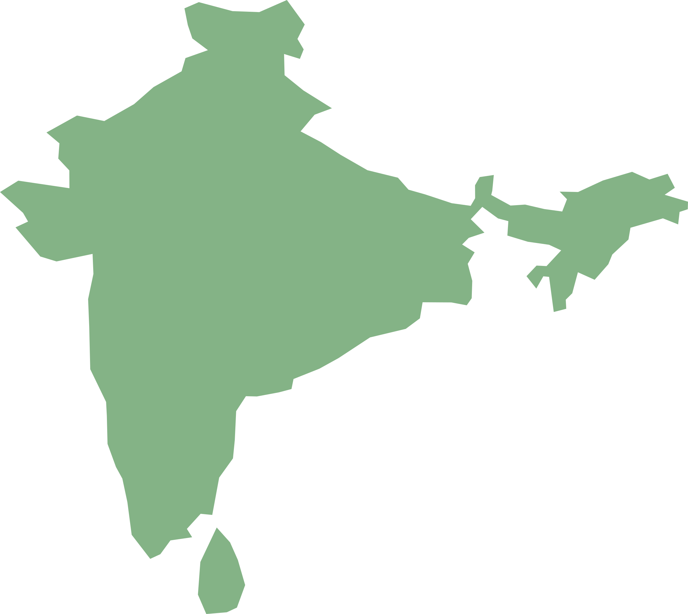 Map Of India And Sri Lanka In Cylindrical Equal Area Projection By