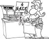 Of A Sales Clerk Holding A 4 Sale Sign By A Cash Register Clipart