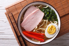 Ramen Noodles In Broth With Pork In A Bowl Close Up  Horizontal