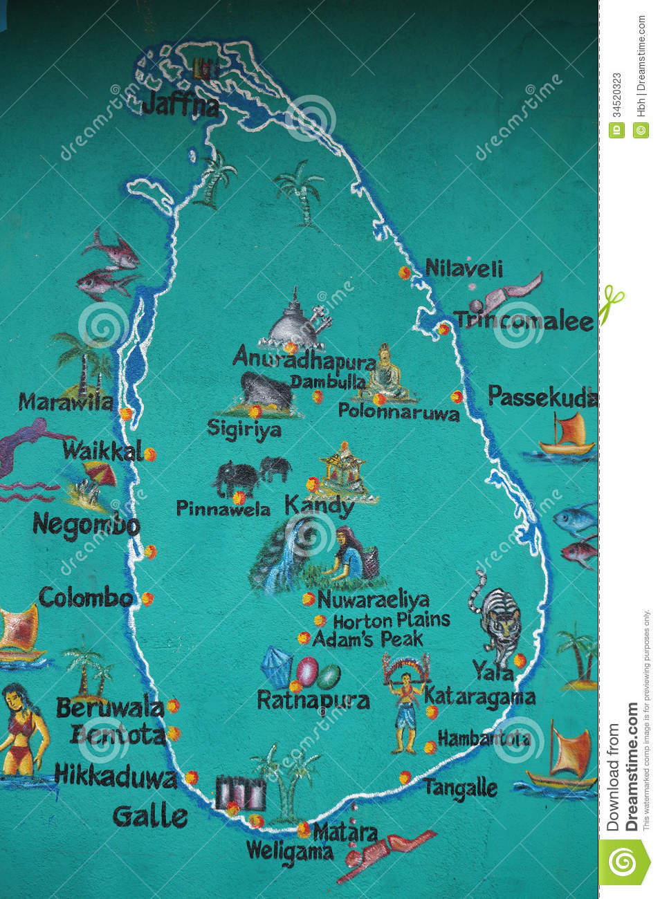 Sri Lanka Is Marked On The Map Of The Tourist Attractions