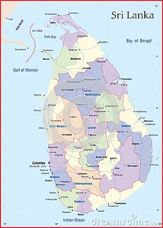 Sri Lanka Map Designed In Illustration With The Main Cities  And Road