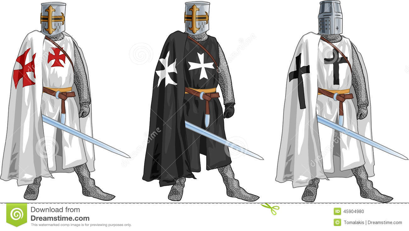 Templar Hospitaller And German Order Crusader Knights In Holy Land On