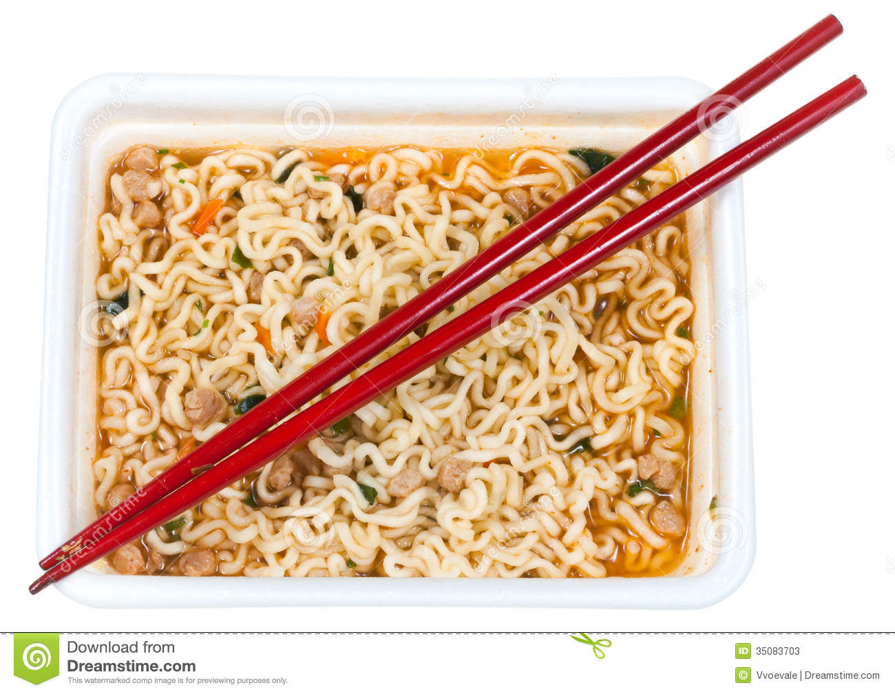 Top View Of Cooked Instant Noodles And Red Chopsticks In Foam Cap