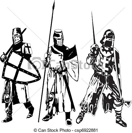 Vector Clip Art Of Knights   Three Knights Csp6922881   Search Clipart