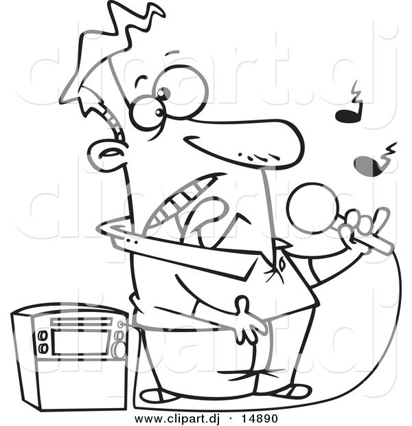 Vector Clipart Of A Cartoon Guy Singing Karaoke   Coloring Page