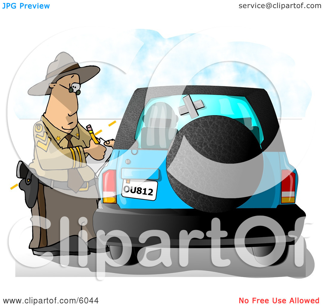 Writing A Ticket To A Speeding Motorist Clipart Picture By Djart  6044