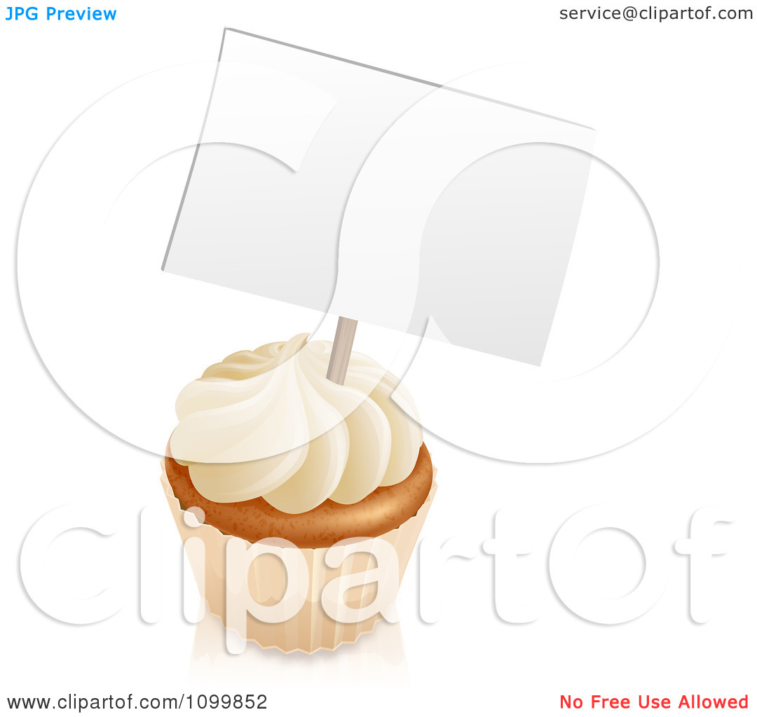 Clipart 3d Vanilla Cupcake With White Frosting And A Sign   Royalty