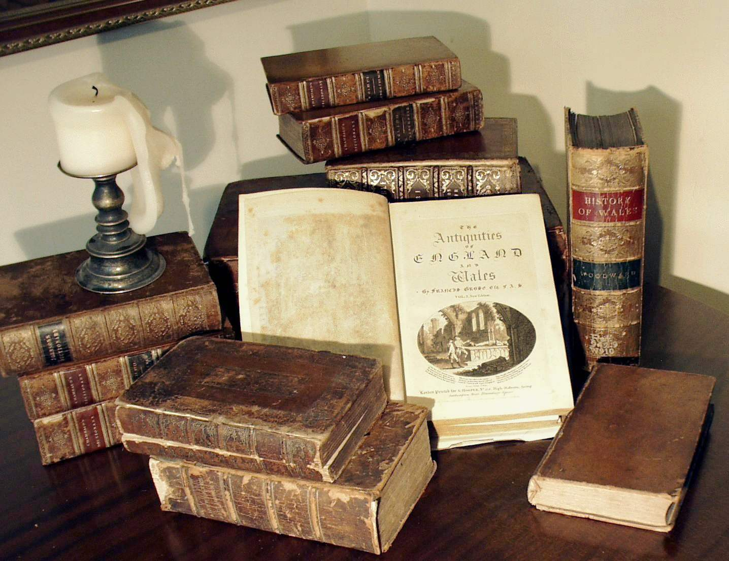 Description Grose Antique Books With Candle Jpg