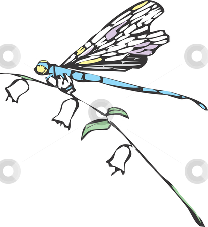 Dragonfly Stock Vector Clipart A Dragonfly Or Damselfly On A Flower