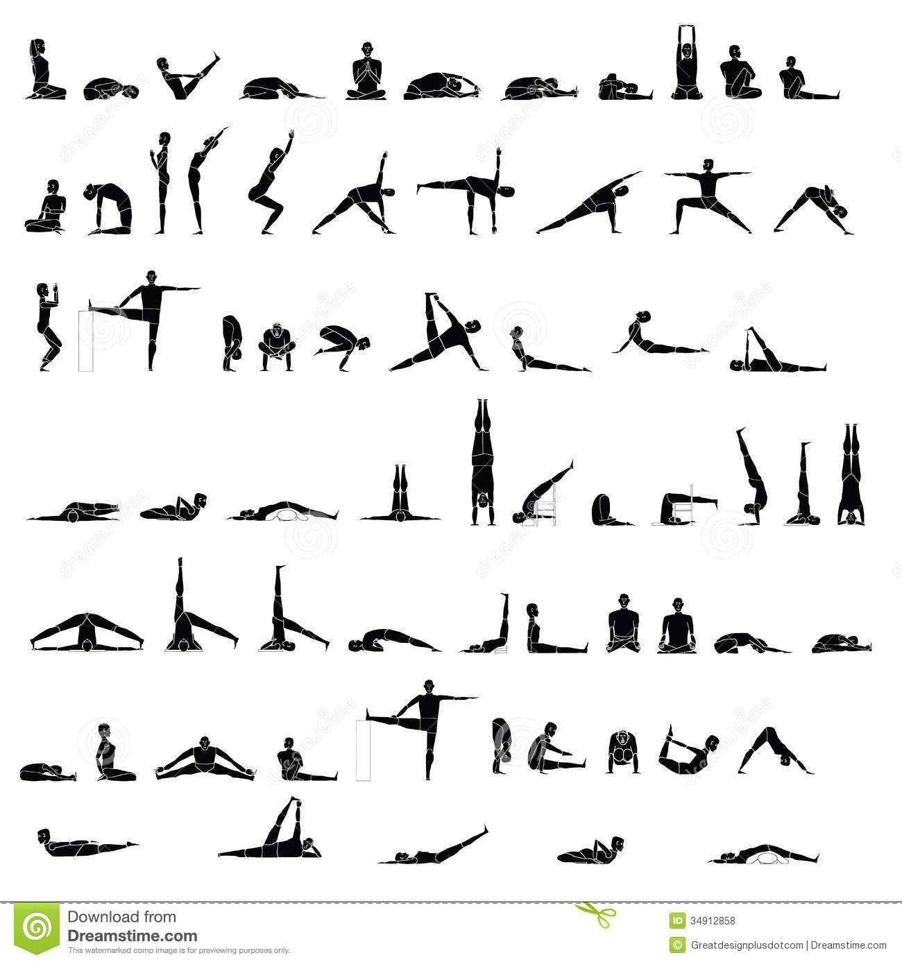 Of People In Yoga Poses And Or Stretching  Vector Eps 8  Clip Art
