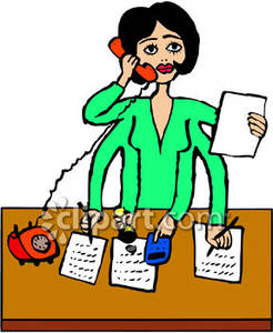 Taking Notes And Answering The Phone   Royalty Free Clipart Picture