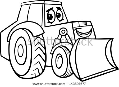 Black And White Cartoon Vector Illustration Of Funny Bulldozer Machine