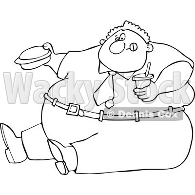 Clipart Outlined Cartoon Unhealthy Obese Man Eating A Hamburger And