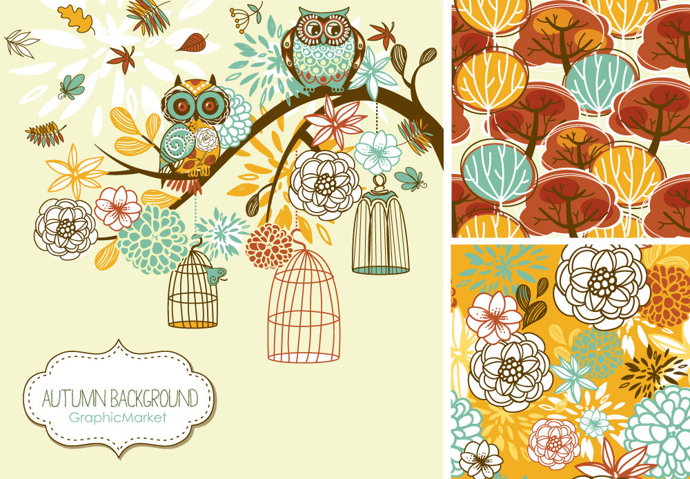 Fall Clip Art Autumn Clipart Thanksgiving Owls By Graphicmarket
