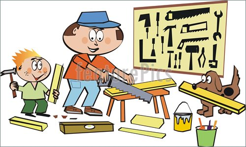 Illustration Of Cartoon Of Man In Home Workshop Making Do It Yourself