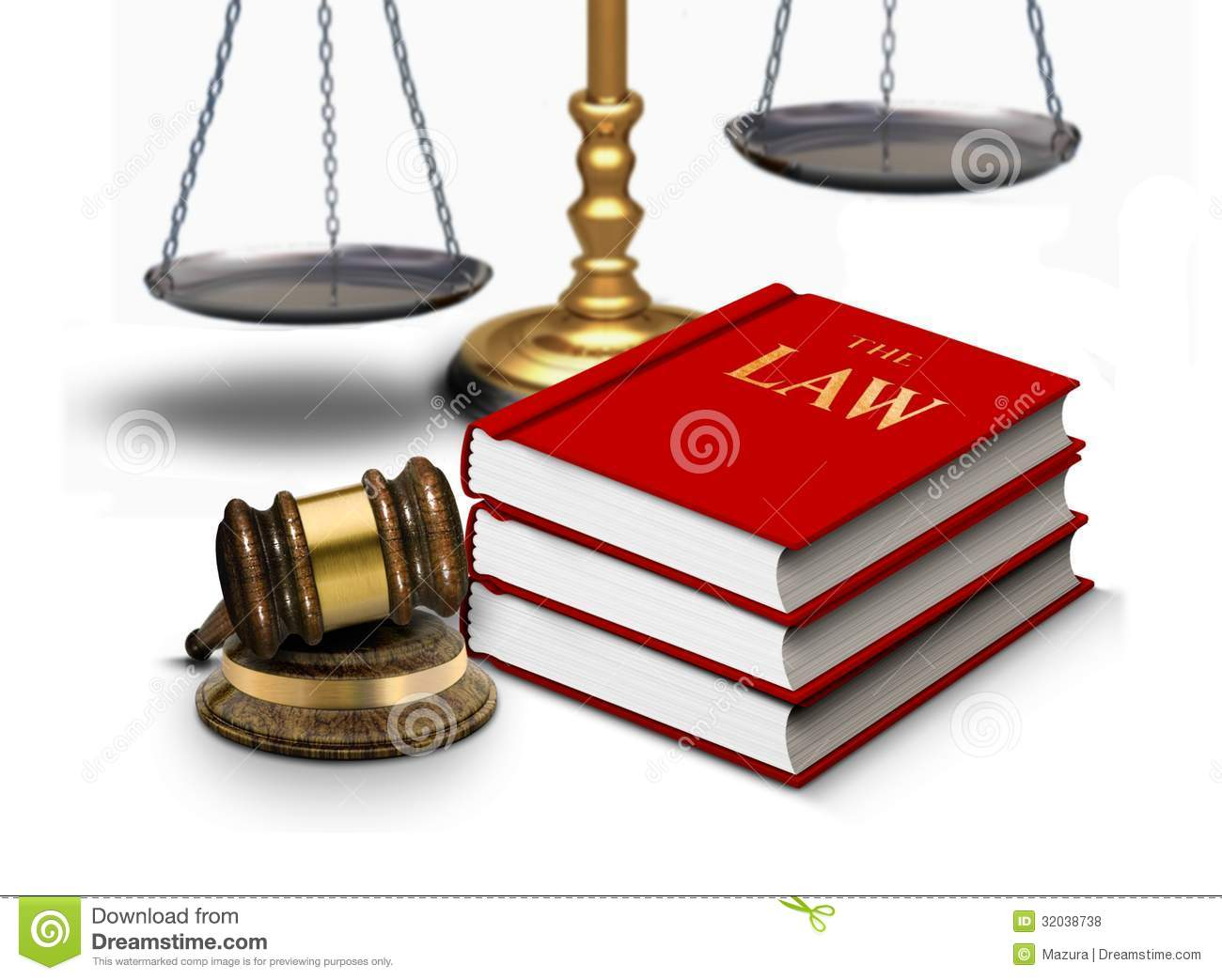 Legal Gavel With Scales And Law Books Royalty Free Stock Photos