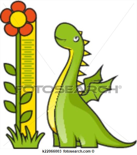 Little Dragon With Height Measuring Scale View Large Clip Art Graphic