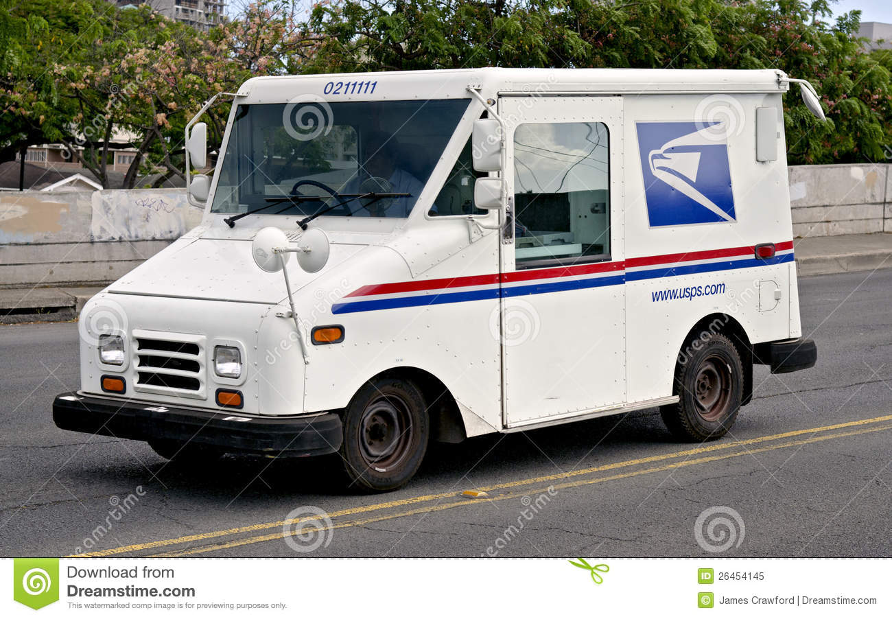 Postal Service Truck Delivering The Mail To Customers In Honolulu