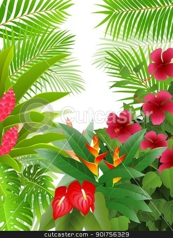 Tropical Forest Background Stock Vector Clipart Vector Illustration