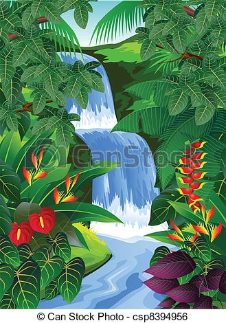 Vector Of Tropical Forest Background   Vector Illustration Of Tropical
